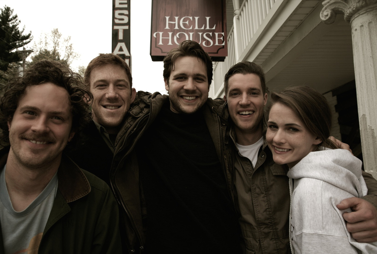 Hell House LLC from left to right: Paul O'Keefe, Andrew McNamara, Alex Taylor, Tony Prescott, Sara Havel. Picture taken sometime in late September 2009.