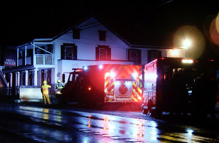 EMTs and Fire Crews at Hell House October 8th, 2009. It was thought to have been a fire that broke out opening night.