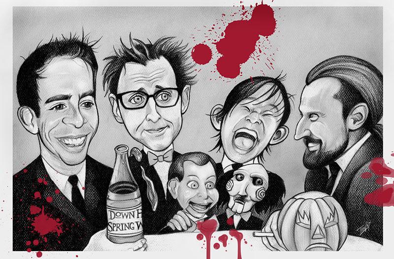 2007 HorrorHound Magazine black and white illustration regarding The Splat Pack. Editorial Illustration by Travis Falligant of IBTrav Illustrations.