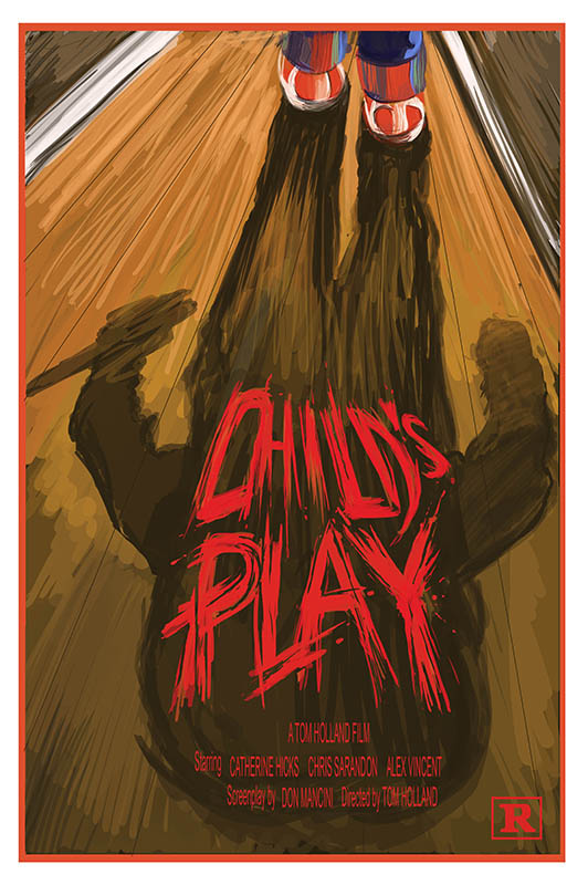 "Movie poster design for the film ""Child's Play"". Art by Travis Falligant of IBTrav Illustrations."