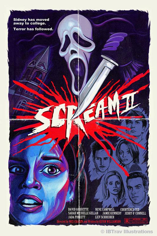 "Movie poster design for the film ""Scream 2"". Art by Travis Falligant of IBTrav Illustrations."