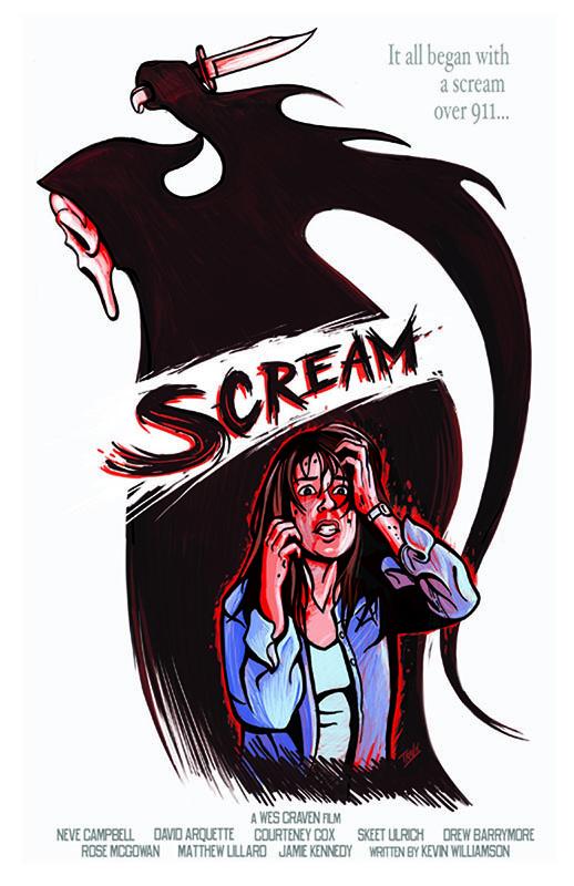 "Movie poster design for the film ""Scream"". Art by Travis Falligant of IBTrav Illustrations."