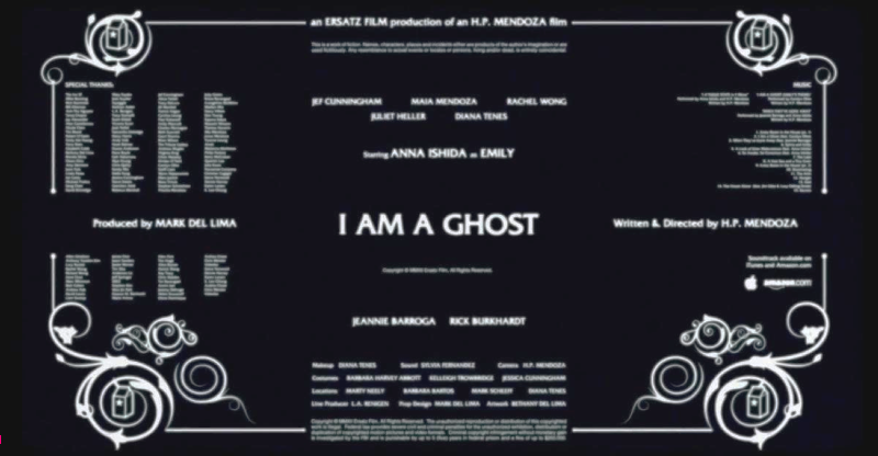"Every credit for I Am a Ghost on a single screen. That's our ""credit sequence""."